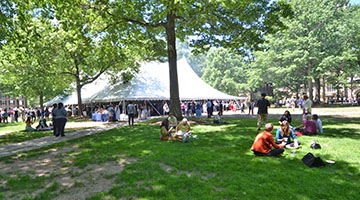 Tent with guests on Old Campus, the gathering space for Staff Appreciation Day 2016