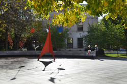 Lollipops and Gallows sculpture on Hewitt Quadrangle.
