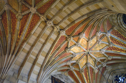 The ceiling above the circulation desk in the nave of Sterling Memorial Library.