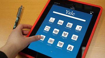 Smart device dsiplaying ways to save through Yale Advantages, Yale's employee discount program