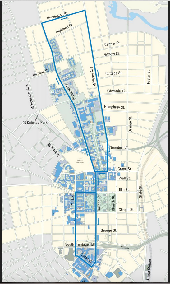 Daytime Routes   It's Your Yale on yale school map, harvard university map, new england map, kuwait university map, university of arkansas at little rock map, downtown new haven map, yale campus map 2013, yale campus map 2012, yale parking map, yale state map, wyoming university map, university of pisa map, mason university map, stockholm university map, virginia map, yale google maps, old campus map, yale campus map 2014, delaware university map,