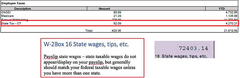 Example W-2 Box 16 State wages, tips, etc.