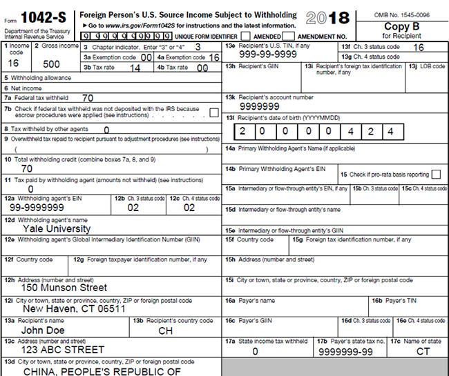 Form 1042-S | It's Your Yale