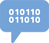 "Tech Talk ""text bubble with binary"" icon"