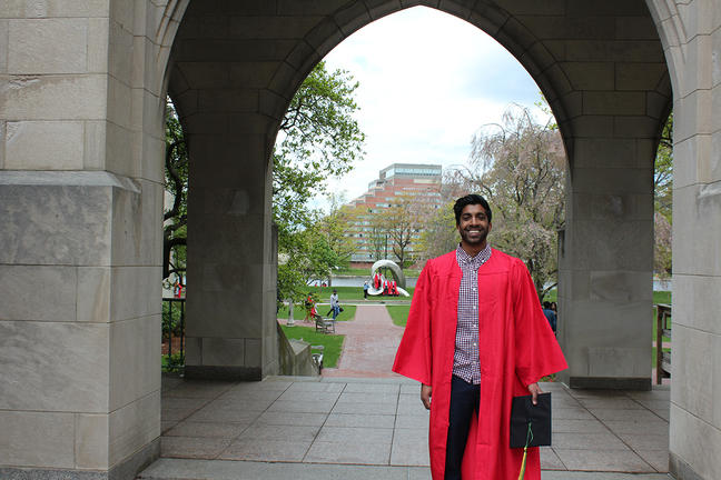 Kumaran M. Rajendran, graduated from Boston University on May 19 with his undergraduate degree.""