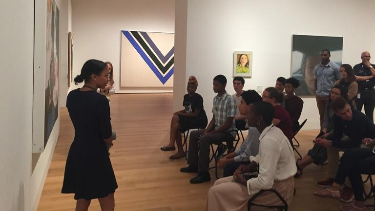 A Yale University Art Gallery intern leading a discussion