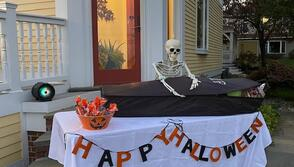 Lalani Perry, Internal Communications, and family created this ghoulish decor for trick or treaters.