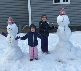 Snowmen and their creators sent in by Mabel Goessinger, Yale Medicine, Medical Billing Compliance