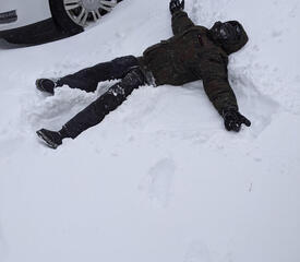 Sent in by Stacey Hampton, Comparative Literature, of her son as a snow angel