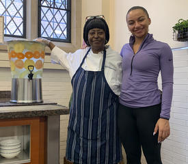 Joanne with a Davenport resident/family member
